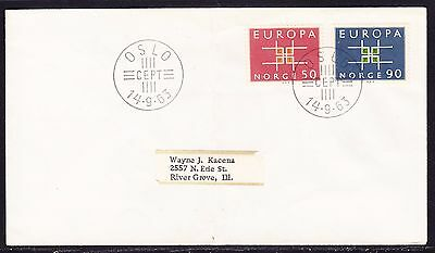Norway 1963 Europa  First Day  Cover to USA