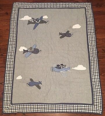 Pottery Barn Kids Air Plane Flying Friends Baby Toddler Quilt Crib Bedding Grey