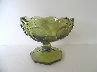 Fostoria Green Compote Dish 1886 Eagle Liberty Torch Coin