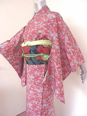 Brand New Machine Washable Spring Like Pink Komon Hitoe Kimono w/Tailor's Thread