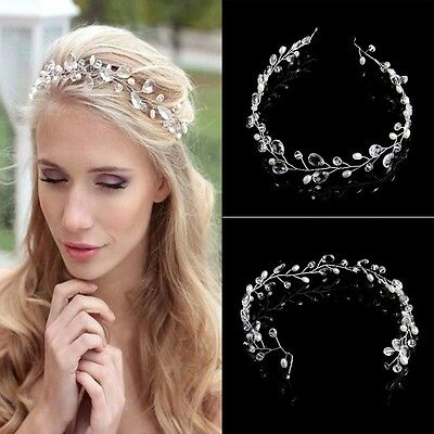 Wedding Bridal Crystals Pearls Tiara Hair Vine Headband Flower Hair piece W3