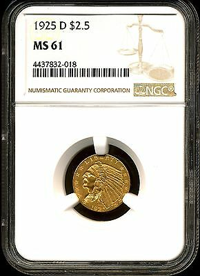 1925-D G$2.5 Indian Head Gold Quarter Eagle MS61 NGC 4437832-018
