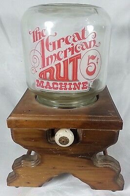 Vintage Wood and Glass Nut or Candy Dispenser The Great American Nut Machine
