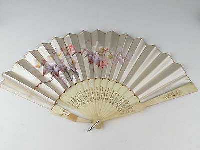 Vintage Hand Painted Fan Silk Roses 12 inches Old Lovely Hand Carved Cow Bone