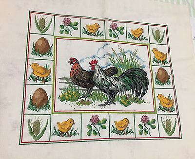 Easter Theme, Chickens, Eggs  Completed Counted Cross Stitch Picture Unframed