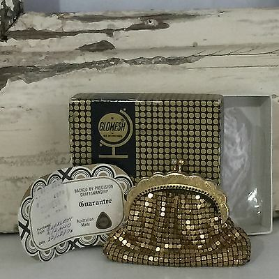 GLOMESH Boxed GOLD Coin PURSE Mesh COLLECTABLE 70's