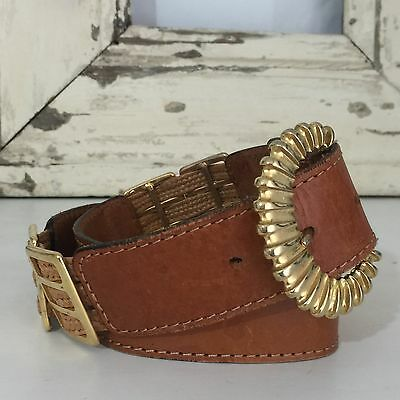 Made in ITALY Genuine LEATHER Belt Tan GOLD Buckle SMALL Vintage