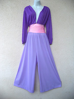 vtg NYLON PALAZZO JUMPSUIT Nightgown Hostess Lounge Gown Plunging Purple L