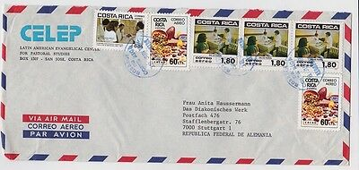 Costa Rica Cover to Germany Cocoa Chocolate Health Stamps 1982