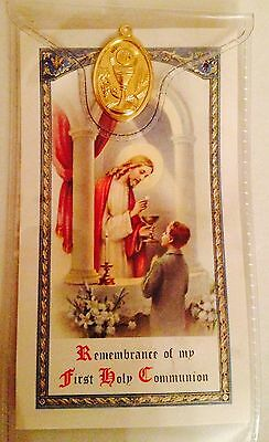 First Holy Communion Prayer Card - Full Colour With Medal In Slipcase