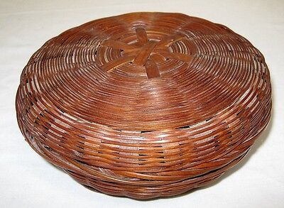"Antique Chinese Covered Sewing Basket Small 6"" Wicker Reed w/ Paper Label"