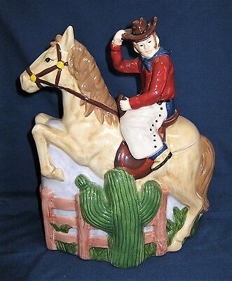 Nick & Nora Western Cowboy On Horse Large Ceramic Cookie Jar By Boston Warehouse