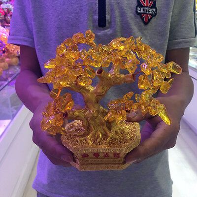 Crystal Citrine Quartz Gemstone Bonsai Lucky Tree 380 GRAMS