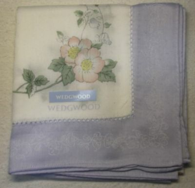 "WEDGWOOD wild blue flower print handkerchief 50cm(19.69"") cotton100% Japan made"