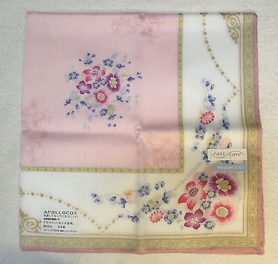 "WEDGWOOD wild pink floral handkerchief 50cm(19.69"") cotton100% Japan made"