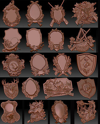 20  3d stl models for CNC  - VECTRIC RLF ARTCAM Hunting and Fishing Medalions