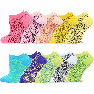 TeeHee Women's Valued 9+1 Pack Fashion No Show Cotton Socks - Size 6-9