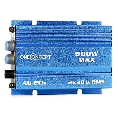 300 Watt Small In Car Motorcycle Hifi Amplifier Blue New Compact Amp 2X 30W Rms