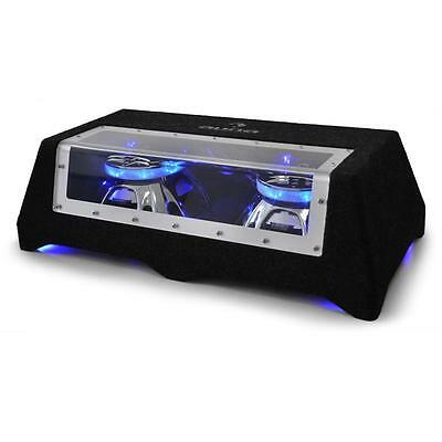 "Dual In Car Bass 12"" Passive Double Subwoofer Sub 800 Watt Rms Blue Led Light"