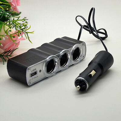 3 Way DC 12V Multi Socket Car Cigarette Lighter Splitter USB Charger Adapter 1X
