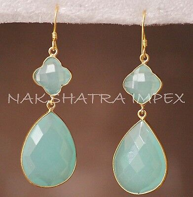 Aqua Chalcedony Clover & Pear Briolette 925 Sterling Silver Gold Plated Earring