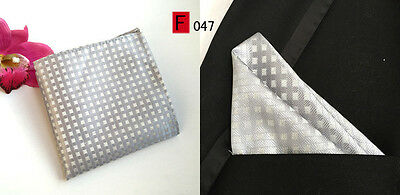 Silver Patterned High Quality Pocket Square Handkerchief