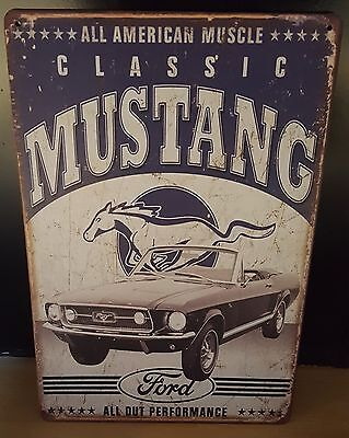 """plaque style emaillée """"ford mustang."""" 30*20 cm"""
