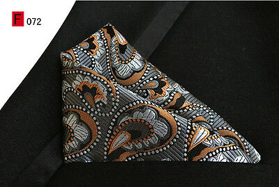 Grey, Orange and Black Paisley Patterned High Quality Pocket Square Handkerchief