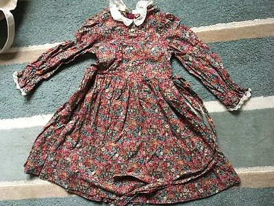 Vintage girls dress liberty ditsy floral print lace collar cuffs long sleeves