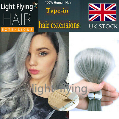 14''-24'' Straight Tape In Skin Remy Human Hair Extensions Ombre Grey & Grey
