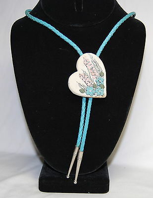 Vintage Blue Leather Clay Heart Pink Flower Scene Bolo Tie Silver Tone Aglets