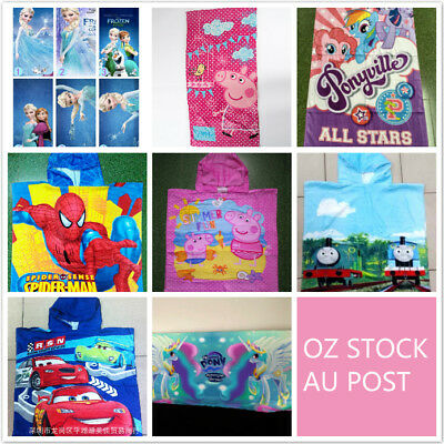 Kids Girls Boys Bath Pool Beach Towel Swimming Hooded Hoodie Poncho Towel FROZEN