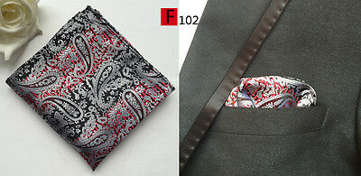 Silver, Red and Black Paisley Patterned High Quality Pocket Square Handkerchief