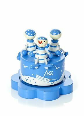 Blue Pirate Music Box Kids Baby Shower Christening Gift Present Boy