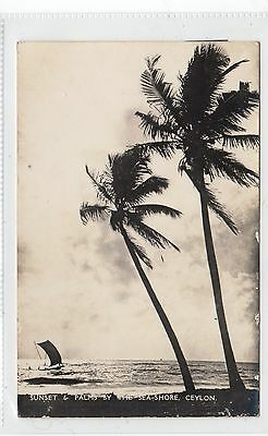 SUNSET & PALMS BY THE SEA-SHORE: Ceylon postcard to Argentina (C27841)