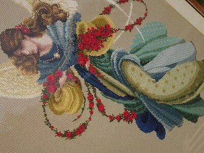 Cross Stitch beaded superfine embroidery winged angel Picture Framed Vintage