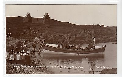 ISLE OF WHITHORN LIFEBOAT & St NINIAN'S CHURCH: Wigtownshire postcard (C27253)