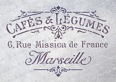 French Cafe STENCIL A5 CL Vintage Chic Furniture Fabric Crafts QUALITY 190 MYLAR