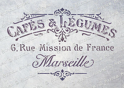 French Cafe STENCIL A4 CL Vintage Chic Furniture Fabric Craft, QUALITY 190 MYLAR