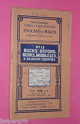 GEOGRAPHIA MAP. Circa 1930s. BUCKS OXFORD BERKS MIDDLESEX. 2 to 1 MILE. PAPER