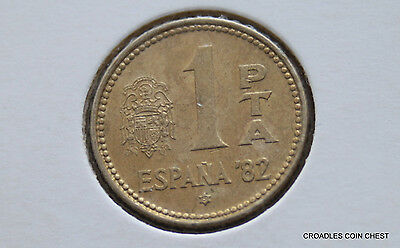 1982 Spain 1 Pta Hardly Circulated And Toned World Coin #el30