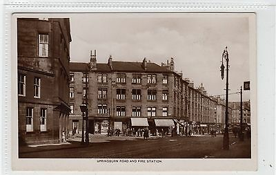SPRINGBURN ROAD AND FIRE STATION: Glasgow postcard (C27923)