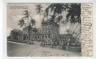 GALLE FACE HOTEL, COLOMBO: Ceylon postcard with hotel cachet (C27574)