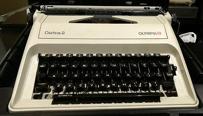 Olympia Carina 2 Portable Typewriter With Black Hard Carry Case