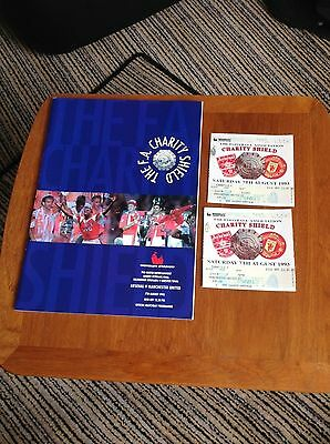 Manchester United v Arsenal FA Charity Shield Program 1993 with Tickets.