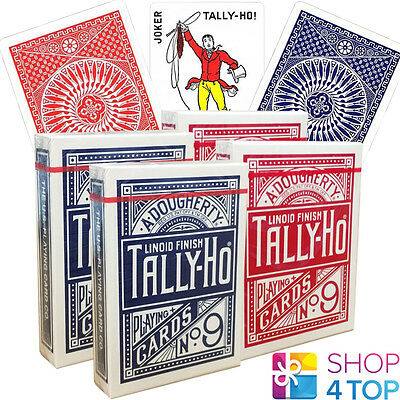 4 Decks Bicycle Tally Ho Circle Playing Cards Standard Index Linoid 2 Red 2 Blue