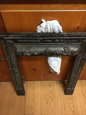 Antique Cast Iron Fireplace Cover Frame Ornate