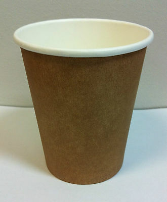 100 set 8 oz Kraft Single wall disposable paper coffee cups & lids Free Postage