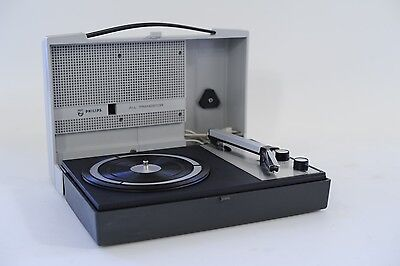Serviced Vintage PHILIPS 210 PORTABLE ALL TRANSISTOR RECORD PLAYER TURNTABLE 70s
