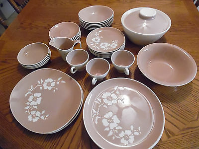 36 Pieces Of Harkerware Dinnerware Dogwood Pattern Made In USA